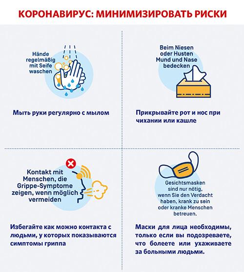 Informationen zur Hygiene zum Schutz vor dem Coronavirus auf Russisch