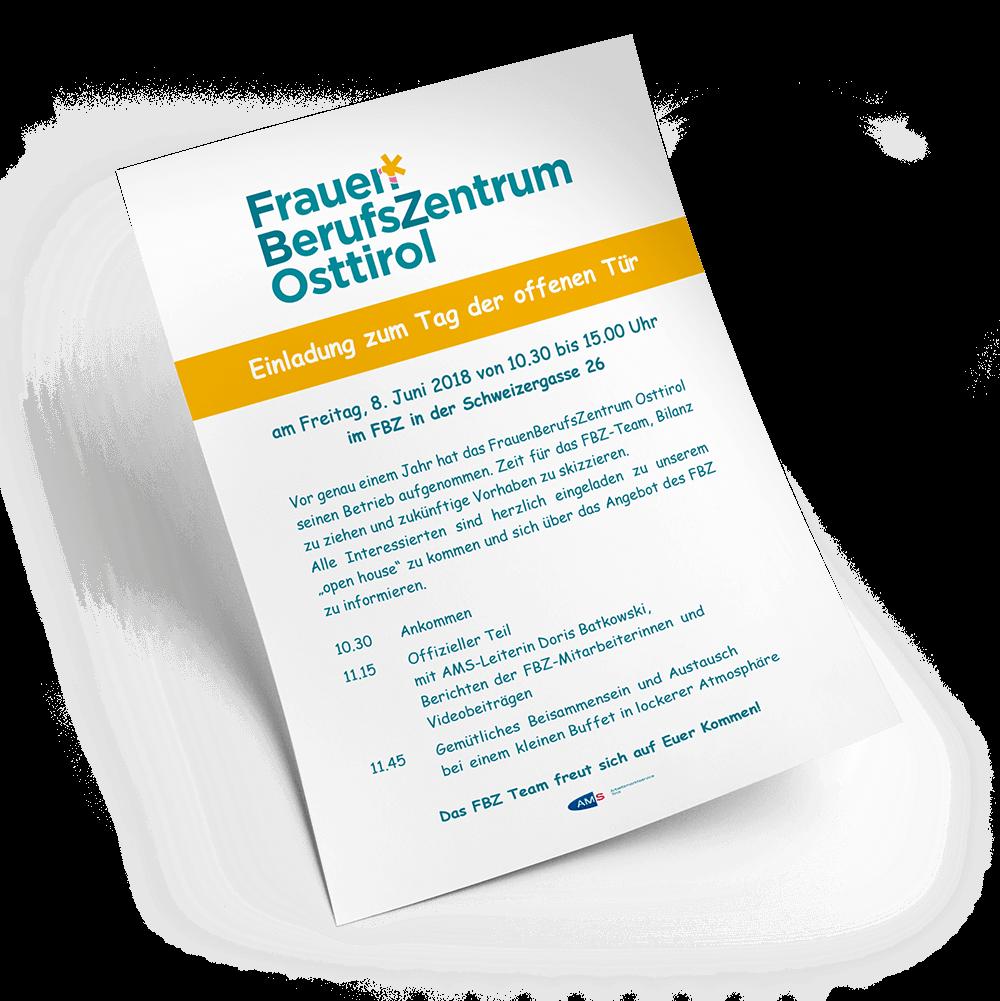 Einladung zum Einjahresfest des FBZ Osttirol